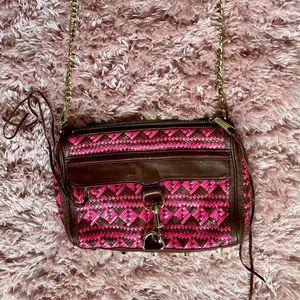 Rebecca Minkoff Neon Pink Brown Woven M.A.C. Bag
